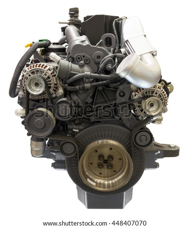 Powerfull engine isolated on white. Clipping path included. - stock photo