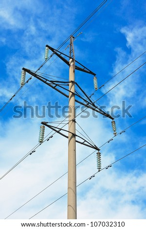 Powerlines against a background of the sky