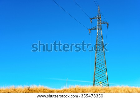 Powerlines - Electricity Pylon / Electricity pylon with power lines against blue clear sky in mountain