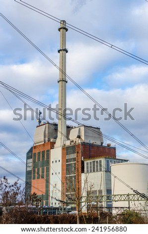 Powerplant with cables - stock photo
