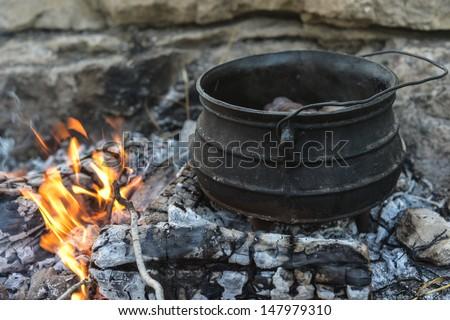 Poyke on fire - stock photo