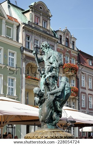 POZAN, POLAND/EUROPE - SEPTEMBER 16 : Fountain of Neptune in Poznan Poland on September 16, 2014