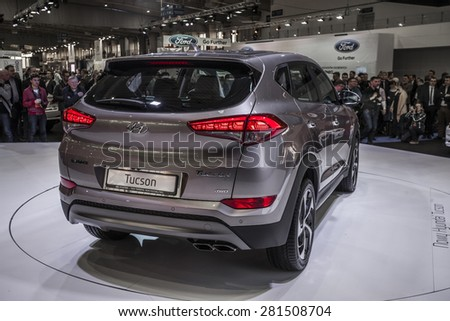 POZNAN - APRIL 10: Hyundai Tucson III 2015 shown at the Poznan Motor Show on April 10, 2015 in Poznan, Poland.