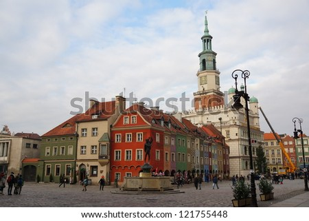 POZNAN - DECEMBER 1: The old market with his historic city hall on December 1, 2012 in Poznan, Poland. This square is covering the area of the medieval walled city from the past.