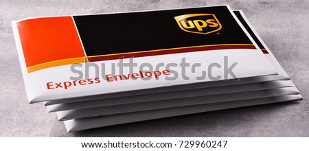 POZNAN, POL - OCT 4, 2017: Envelopes of United Parcel Service or UPS, the world's largest package delivery company, shipping over 15 million packages per day in more than 220 countries
