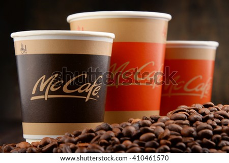 POZNAN, POLAND - APRIL 24, 2016: McCafe is a coffee-house-style food and drink chain, owned by McDonald's. - stock photo