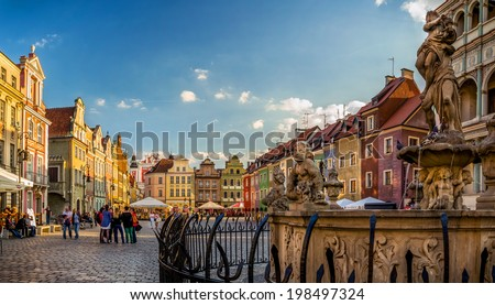 POZNAN, POLAND - APRIL 29: The central square on April 29, 2014 in Poznan, Poland. Currently, Old Market is the center of tourism Poznan, most beautiful part of the city.  - stock photo
