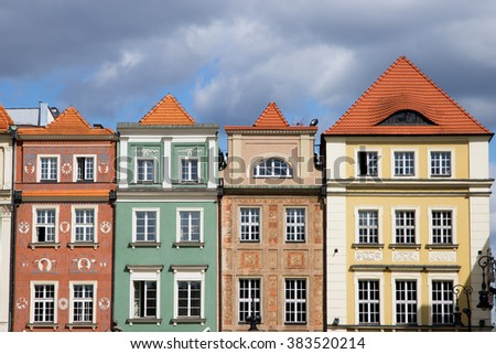 POZNAN, POLAND - AUG 20, 2014: Colorfull facades on the central square in Poznan. The city is the 4th largest and the 3rd most visited city in Poland.