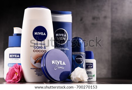 POZNAN, POLAND - AUG 11, 2017: Nivea is a German personal care brand that specializes in skin- and body-care products. It is owned by Beiersdorf Global AG headquartered in Hamburg.