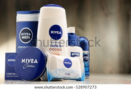 POZNAN, POLAND - DEC 2, 2016: Nivea is a German personal care brand that specializes in skin- and body-care products. It is owned by Beiersdorf Global AG headquartered in Hamburg.