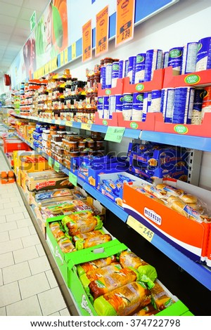 POZNAN, POLAND - DECEMBER 08, 2013: Bread products for sale in a Lidl supermarket - stock photo