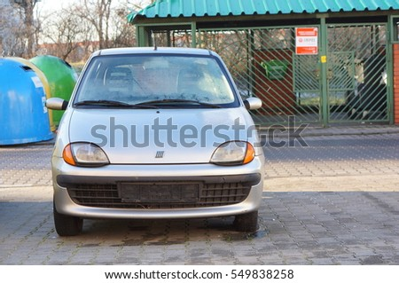 POZNAN, POLAND - DECEMBER 31, 2016: Parked gray Fiat Seicento without license plate on a parking lot