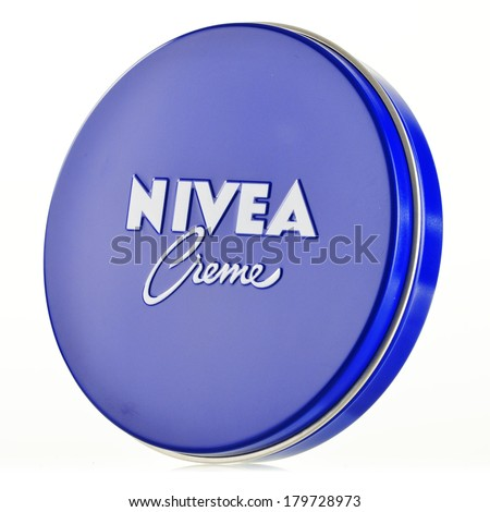 POZNAN, POLAND - FEBRUARY 27, 2014: Nivea global skin- and body-care brand owned by the German company Beiersdorf.