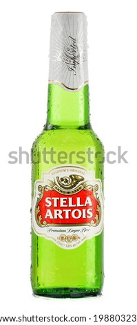 POZNAN, POLAND - FEBRUARY 26, 2014: Stella Artois, prominent brand of Anheuser-Busch InBev, is a pilsner brewed in Leuven, Belgium, since 1926  - stock photo