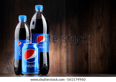 POZNAN, POLAND - JAN 18, 2017: Pepsi is a carbonated soft drink produced and manufactured by PepsiCo. The beverage was created and developed in 1893 under the name Brad's Drink
