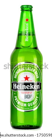 POZNAN, POLAND - JANUARY 30, 2014: Heineken Lager Beer is the flagship product of Heineken International which owns over 125 breweries in more than 70 countries