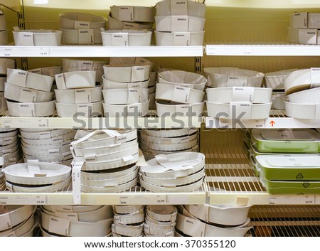 POZNAN, POLAND - JANUARY 18, 2014: Variation of baking dishes for sale at a Ikea store