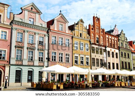 POZNAN,POLAND -JULY 22, 2015; colorful historic houses in Old Town in Poznan