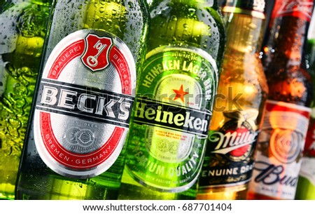 POZNAN, POLAND - JULY 21, 2017: Heineken, Anheuser-Busch InBev, Carlsberg Group and Sabmiller are major producers dominating global market of beer,  the world's most widely consumed alcoholic beverage