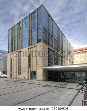 POZNAN, POLAND - JULY 18, 2014: Modern library building. University of Adam Mickiewicz in Poznan, Poland
