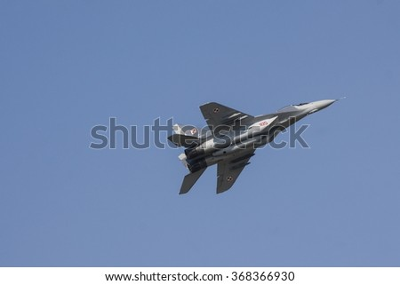 POZNAN, POLAND - JULY 1, 2015:The Mikoyan MiG-29 Fulcrum is a jet fighter aircraft designed in the Soviet Union. - stock photo