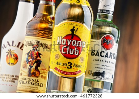 POZNAN, POLAND - JULY 27, 2016: The Most famous global rum brands come from Caribbean and this is where the beverage originated as a drink made from fermented and distilled sugarcane byproducts