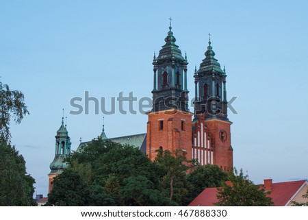 Poznan, Poland - July 1, 2016: View at sunset on cathedral church of St. Peter and St. Paul in polish city Poznan on Ostrow Tumski square