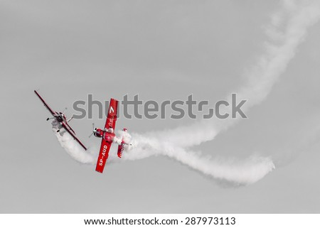 "POZNAN, POLAND - JUNE 14: Aerobatic group formation ""Zelazny"" at blue sky during Aerofestival 2015 event on June 14, 2015 in Poznan, Poland"