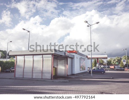 POZNAN, POLAND - JUNE 13, 2014: Car wash close by a fuel station