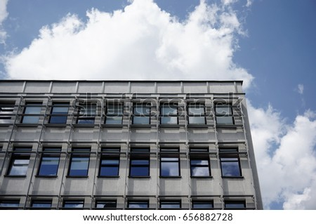 POZNAN, POLAND - JUNE 08, 2017: Close up of a old office building in the city center