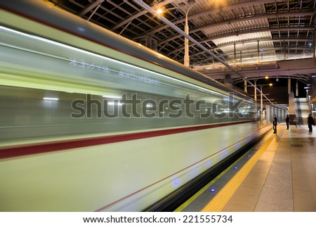POZNAN, POLAND - JUNE 28, 2014:New tram line in tunnel. Built in the district Rataje. Line connects the city with the new tram depot and shopping center. - stock photo