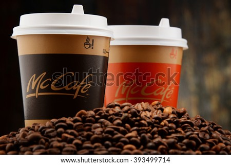 POZNAN, POLAND - MARCH 18, 2016: McCafe is a coffee-house-style food and drink chain, owned by McDonald's. - stock photo