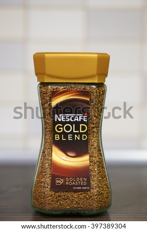 POZNAN, POLAND - MARCH 27, 2016: Nescafe Gold Blend instant coffee in a glass jar - stock photo