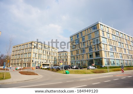 POZNAN, POLAND - MARCH 31, 2014: New office building with different companies at the city center