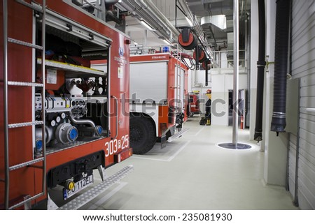 POZNAN, POLAND - MAY 9, 2014: Modern fire station in Poznan. - stock photo