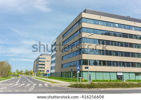 POZNAN, POLAND - MAY 05, 2016: New modern work office building of the Business Garden on the Kolorowa street - stock photo