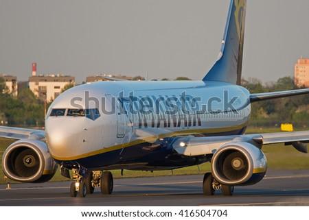 POZNAN, POLAND - MAY 6: Ryanair Boeing 737 (reg EI-DWP) at Poznan Lawica Airport - POZ. May 6, 2016. - stock photo
