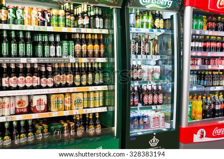 POZNAN, POLAND - MAY 20, 2014: Variation of beer for sale in a fridge in a supermarket - stock photo