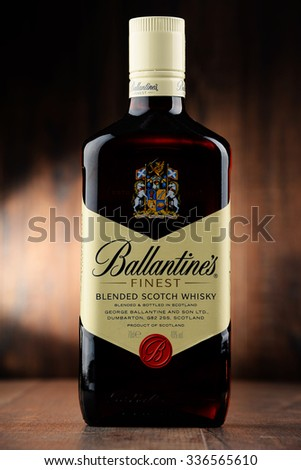 POZNAN, POLAND   NOVEMBER 4, 2015: Ballantineu0027s Is The Worldu0027s Second  Highest Selling