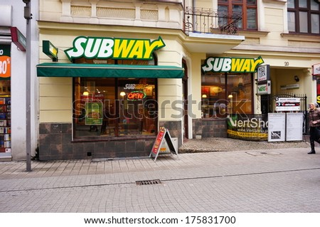 POZNAN, POLAND - NOVEMBER 30, 2013: Subway restaurant at the center of the city  - stock photo