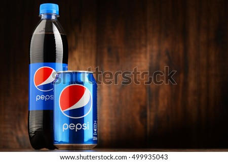 POZNAN, POLAND - OCT 13, 2016: Pepsi is a carbonated soft drink produced and manufactured by PepsiCo. The beverage was created and developed in 1893 under the name Brad's Drink