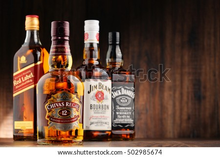 POZNAN, POLAND - OCT 12, 2016: Whiskey is the most popular liquor in the world. Originated probably in Ireland, now it is produced also in India, Scotland, USA, Canada and Japan.