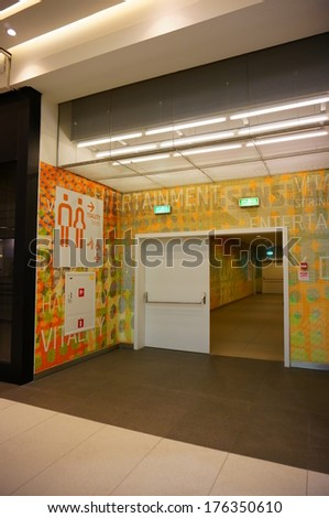 POZNAN, POLAND - OCTOBER 31, 2013: Entrance to the toilets in the Malta shopping mall