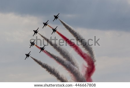 POZNAN, POLAND -SEP 24, 2015: The Turkish Stars are the aerobatic demonstration team of the Turkish Air Force and the national aerobatics team of Turkey.
