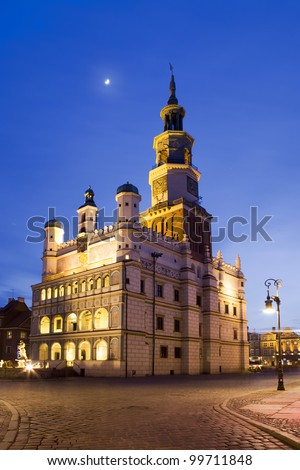 Poznan Town Hall is a building in the city of Poznan in western Poland, located in the Old Market Square in the centre of the Old Town neighbourhood. Poznan is host city Uefa Euro 2012 - stock photo