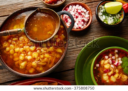 Pozole with mote big corn stew from Mexico with ingredients and appetizer - stock photo