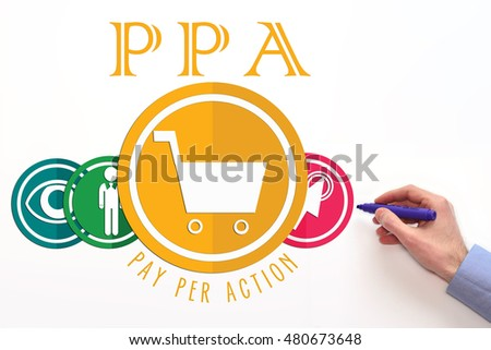 PPA. Pay per action advertising payment model. PPA sign on white background