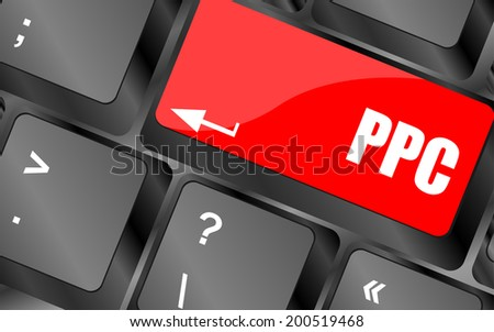 PPC (Pay Per Click) Concept. Button on Modern Computer Keyboard - stock photo