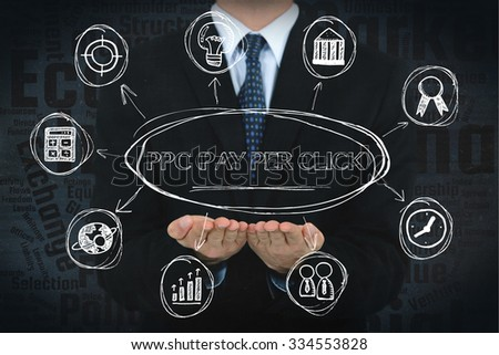 PPC (Pay Per Click) concept image with business icons. - stock photo