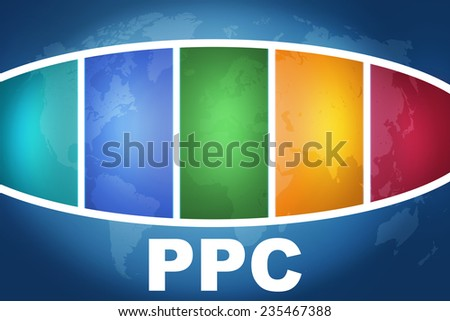 PPC - Pay per Click text illustration concept on blue background with colorful world map - stock photo